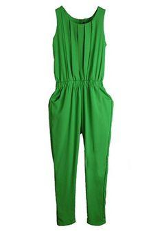 Green Mid Waist Elastic Straight Chiffon Jumpsuit