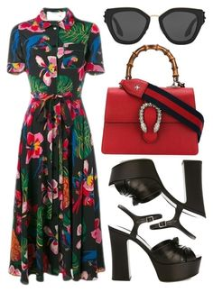 """street style"" by sisaez ❤ liked on Polyvore featuring Valentino, Yves Saint Laurent, Gucci and Prada"