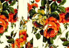 Orange Rose Curtain Panels  Set of 2 by CliftonSupplyCompany.