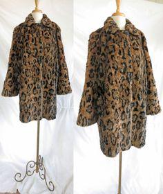 Vintage Faux Fur Leopard Coat by DustyDesert on Etsy