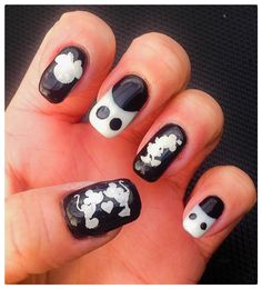 "Mickey Mouse Monochrome Nail Art by ""Lorena Style"". Inspired by ""MiniNailBlog's"" YouTube Tutorial."