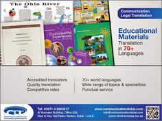 #Education #Materials #Translation Communication Legal Translation offers top-quality education materials translation service to its customers in the #educational #institutions, consulting firms, training centers, #schools, #colleges and #universities. Primarily from #Arabic into #English and vice versa. We also provide translation service from English into more than 70 #languages. For more info visit: www.communicationdubai.com/education-materials-translation.php