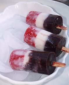 Fruit and milk popsicles....  I'm not sure on the milk part.