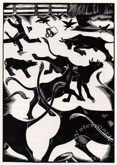 Cows, 1934 // print by Robert Gibbings. Gibbings (1889 – 1958) was born in Kinsale, County Cork. Wounded at Gallipoli while serving in the First World War, he resumed his art studies in London and began making wood engravings. In 1919 he helped found the Society of Wood Engravers, and from 1924 to 1933 he owned and ran the Golden Cockerel Press, where he illustrated publications with his own engravings and with the work of other leading artists of his generation, including Eric Ravilious, John Nash, Agnes Miller Parker and Eric Gill. The success of Sweet Thames Run Softly led to many more books which he engraved and wrote.