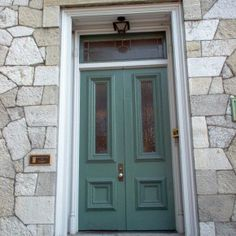 Decoration Outdoor ~ Enticing Front Door Ideas Assorted Ornament And Decorations: Amusing Gray Stone Wall Facade Entry Areas With Teal Swing Bi Fold Front Door Ideas