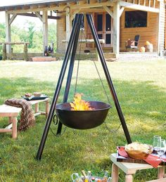 Steel Campfire Cauldron Fire Pit With Cooking Grill Grate, at Plow and Hearth