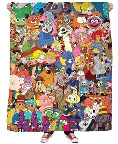 If you're an baby, you NEED this Cartoon Collage Bandana! This vibrant, all-over print collage combines all of your vintage favorites from Jem and the Collage Tattoo, Big Tattoo Planet, Muppet Babies, Jem And The Holograms, Cartoon Tattoos, Baby Tattoos, Tatoos, Cartoon Pics, Cartoon Art