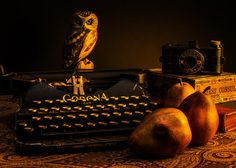 Still Life - Pears and Typewriter © Jon Woodhams. Prints and cards available here: http://fineartamerica.com/featured/still-life--owl-pears-and-rabbit-jon-woodhams.html #jonwoodhams #stilllife #photography