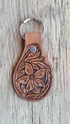 $16.95 Hand made leather keychain with floral tooling pattern