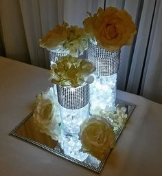 Floral Wedding Centerpieces Planning and Tips - Love It All Dollar Store Centerpiece, Wedding Table Centerpieces, Diy Wedding Decorations, Flower Centerpieces, Bling Centerpiece, Wedding Ideas, 50th Anniversary Decorations, 25th Wedding Anniversary, Anniversary Parties