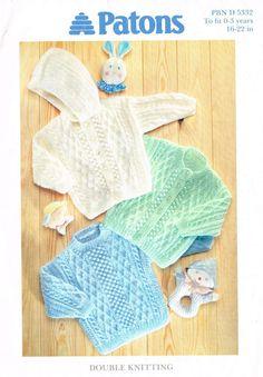 Patons 5332 baby  cardigan hoodie and jumper vintage by Ellisadine, £1.00