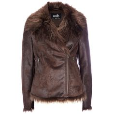 Brown Short Shearling Coat ($44) ❤ liked on Polyvore featuring outerwear, coats, brown, shearling coat, brown winter boots, faux fur collar coat, brown coat and short coat