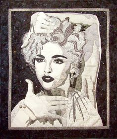 """Vogue""  Madonna portrait quilt.  In a private collection.  Made by me, Cindy Garcia.  www.cindygarciaquilts.com"