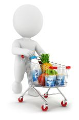 3d white people with a shopping cart stock photo