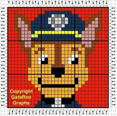 Paw Patrol Marshall, C2c Crochet Blanket, Crochet Blanket Patterns, Pixel Crochet, Crochet Chart, Beaded Cross Stitch, Cross Stitch Patterns, Pixel Art, Corner To Corner Crochet
