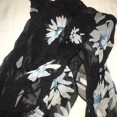 NWT Liz Claiborne scarf 100% silk black, white and blue scarf Liz Claiborne Accessories Scarves & Wraps