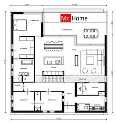 Mc-Home moderne kubistische bungalow onder architectuur plat dak alles op begane grond B42