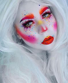 Easy Pretty Halloween Makeup Ideas For Women Halloween cosmetics thoughts are ending up increasingly mainstream with every day. Easy Clown Makeup, Amazing Halloween Makeup, Halloween Face Makeup, Pretty Halloween, Halloween Ideas, Girl Clown Makeup, Unicorn Makeup, Halloween Party, Makeup Fx