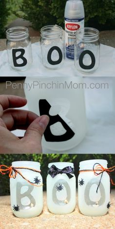 HALLOWEEN ❈ PARTY . DIY Mason Jar BOO Lantern - keep in mind to adapt words and use for any other occasion!