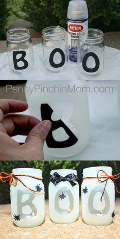 DIY – Halloween Mason Jar Lantern - BOO halloween lantern