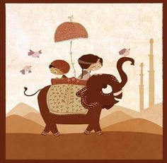 Art for kids room Elephant painting nursery art wall art by nidhi, $32.00