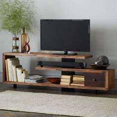 I kind of like this staggered wood console. Open shelf for a sound bar. - I kind of like this staggered wood console. Open shelf for a sound bar. Thick metal plate down the - Diy Furniture, Furniture Design, Barbie Furniture, Garden Furniture, Industrial Furniture, Rustic Furniture, Modern Furniture, Industrial Living, Affordable Furniture