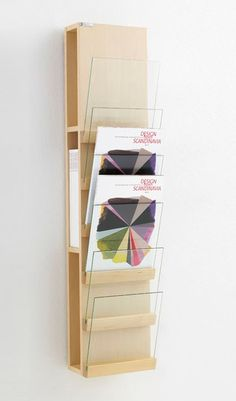 Wall-mounted display unit for brochures Glass display unit Front Collection by Karl Andersson