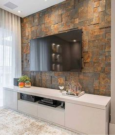 Delightful Living Room Tv Wall Tiles, Your feature wall can be painted utilizing plenty of accent wall colors that are provided by interior decorators, but there's one shade which goes far. Apartment Decorating Livingroom, Living Room Tv Unit Designs, Apartment Living Room, Modern Apartment, Living Room Decor Apartment, Living Room Tv Wall, Room Design, Tv Room Design, Living Room Design Modern