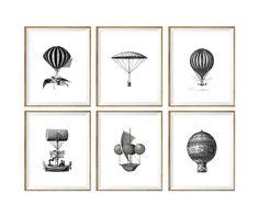 Hot Air Balloon Art Print SET of 6. vintage, antique, nursery wall art, nursery decor, nursery print set, vintage nursery prints, 8x10, 5x7