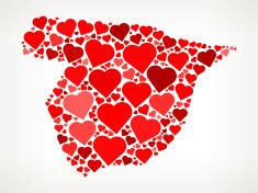 Spain Icon with Red Hearts Love Pattern vector art illustration