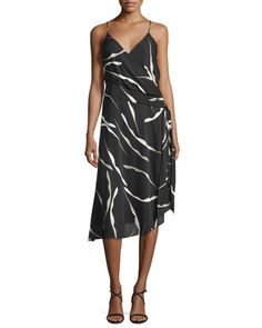 Brenndah+Printed+Surplice-Front+Dress,+Gesture+Black+by+Diane+von+Furstenberg+at+Neiman+Marcus.