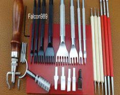 conjunto cuero artesanal herramientas agujero golpes por kailedexue