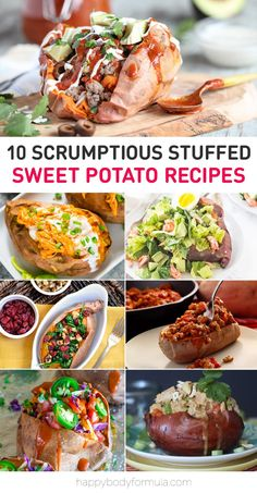 10 Scrumptious Paleo & Gluten-Free Stuffed Sweet Potato Recipes - get your sweet spuds on. We have a roundup of ten healthy, paleo-friendly, scrumptious stuffed sweet potato recipes that make for easy, nourishing, cozy dinners. Sweet Potato Toppings, Sweet Potato Recipes Healthy, Paleo Recipes, Cooking Recipes, Vegan Stuffed Sweet Potato, Stuffed Sweet Potatoes, Baked Sweet Potatoes, Vegan Baked Potato, Sweet Potato Dinner