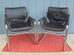 Pair of Maurice Burke Alpha Chairs for Pozza Brazil Black Leather and Chrome Sling Lounge Chairs Mid Century Modern Furniture by ZeeJunkHunter on Etsy https://www.etsy.com/listing/215214899/pair-of-maurice-burke-alpha-chairs-for