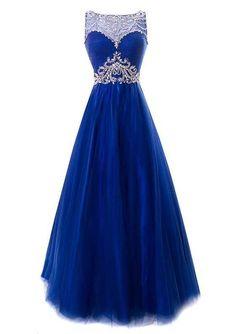 2017 Custom Made Charming Royal Blue Prom Dress, Sleeveless Evening Dress,Beading Prom Dress