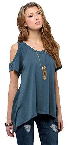 Amazon.com: Women's Vogue Shoulder Off Wide Hem Design Top Shirt: Clothing