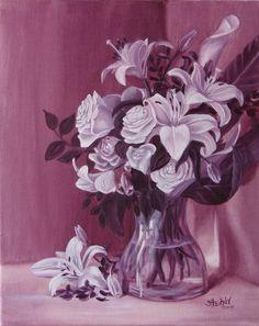 Festészeti alapok, a tónusértékek gyakorlása. olaj vászon. # olajfestés # csendélet #monocrom # liliomom # rózsák # lila Monet, Still Life, Abstract, Artwork, Painting, Summary, Work Of Art, Auguste Rodin Artwork, Painting Art