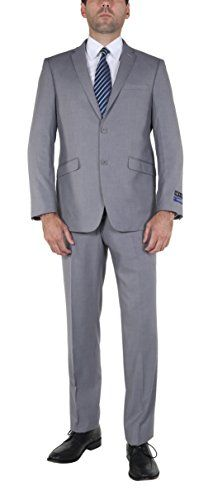 """P&L Men's 7-colors Premium Slim Fit Two-piece Single Breasted Two Button Dress Suit Jacket and Pants Sets [2015 (50 Regular / W 46"""", Grey)"""