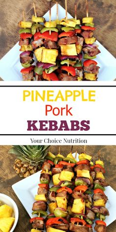 These Hawaiian-inspired Pineapple Pork Kebabs are a great addition to any BBQ or summer gathering! Filled with sweet pineapple and savory veggies, it's a perfect balance of flavors and nutrition! - Would be great made with chicken or beef too! Pork Kabob Marinade, Marinade Porc, Pork Skewers, Kebabs On The Grill, Steak Kabobs, Chicken Skewers, Kabob Recipes, Grilling Recipes, Yummy Recipes