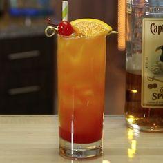 Mango Cocktail, Mango Rum, Mango Puree, Spiced Rum Mixers, Cocktail Recipes, Cocktails, Drinks, Tequila Sunrise Recipe, Tipsy Bartender