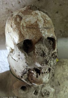 The perfectly-preserved settlement was discovered by accident in the 18th century, buried under 30ft (9 metres) of ash. Archaeologists wereamazed to find human remains inside the voids. Plaster of Paris was poured inside to create casts of humans, and when this material is broken it reveals bones inside (shown)