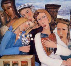 'Les secrets du coeur' (Secrets of the Heart) - Roger Alexandre Canadian Painters, Heart Art, Soft Colors, Figurative Art, Painting & Drawing, Princess Zelda, Portrait, Canvas, Drawings
