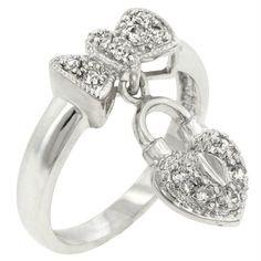 Heart Lock Ribbon Ring