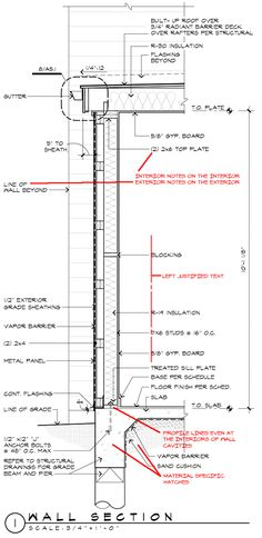 Architectural Drawing Design Architectural Graphics Standards - Wall Section with redlines - Continuing the conversation about Architectural Graphic Standards and what architectural firms convey in their construction drawings Architecture Graphics, Architecture Drawings, Architecture Details, Interior Architecture, Revit Architecture, Construction Documents, Construction Drawings, Construction Design, Construction Business