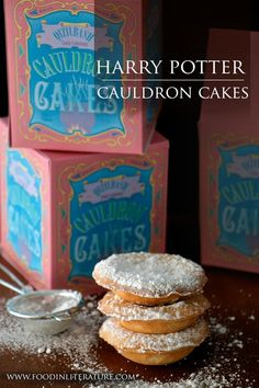 Cauldron Cakes | Harry Potter Series - www.FoodinLiterat... | I have always had questions around 'cauldron cakes'. The book tells us they're stackable, and they've been manufactured since the 1850s (so, older recipe) by Qizilbash Quality Confectionary who mass produces them in Pakistan. Does this make them Middle Eastern cakes or English cakes that are manufactured in Pakistan? This version is Middle Eastern inspired and so delicious!