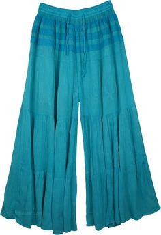 Eastern Blue Split Skirt Riding Pants TLB - Cotton Blue Clothing (Split-Skirts-Pants, Yoga, Riding) Wide Leg Cotton Lounge Pant - Dramatic style trousers in beautiful ocean blue - easy-to-wear wide leg pants for any season Summer Pants Outfits, Yoga Pants Outfit, Boho Outfits, Outfit Summer, Fashion Outfits, Riding Pants, Split Skirt, Plus Size Summer, Skirt Pants