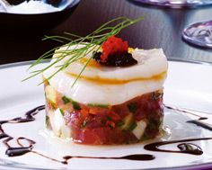Tuna Tartare and Scallop Ceviche with Balsamic Glaze and Caviar
