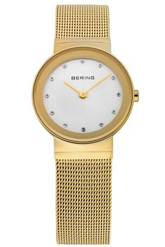 Bering Ladies Silver Dial Gold Mesh Band Classic Watch 10126-334