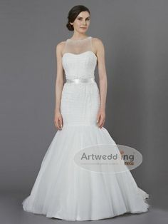 Ruched and Beaded Illusion Neckline Tulle over Satin Trumpet Wedding Gown with Bow Sash