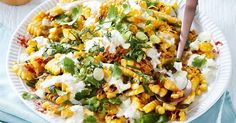 Complete your feast with Curtis Stone's charred corn salad topped with a creamy lime dressing, paprika, spring onions and fresh coriander. I would omit the coriander, obviously, because it is the devil's weed. Sausage Recipes, Cooking Recipes, Healthy Recipes, Weekly Recipes, Banting Recipes, Healthy Salads, Healthy Cooking, Yummy Recipes, Enchiladas